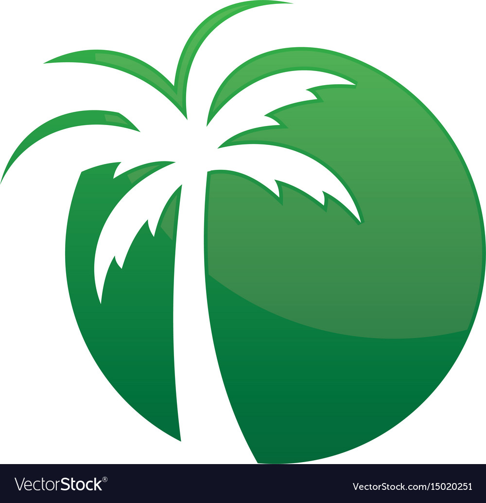 Circle Palm Tree Logo Image Royalty Free Vector Image Palm tree outline logo laptop cup decal svg digital. vectorstock