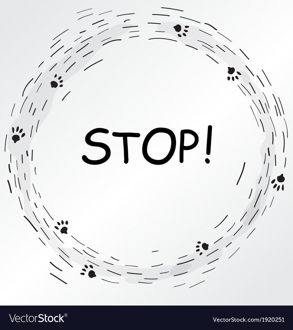 Circular frame with cat foot prints vector image