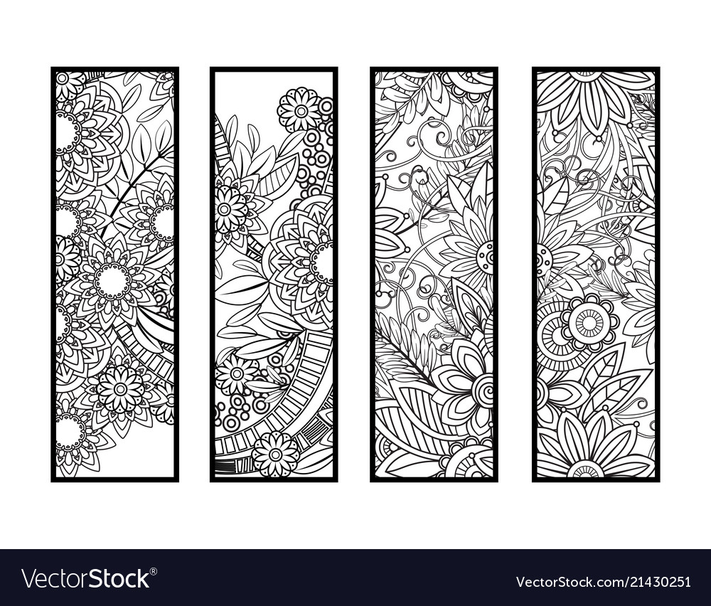 Coloring bookmarks set Royalty Free Vector Image