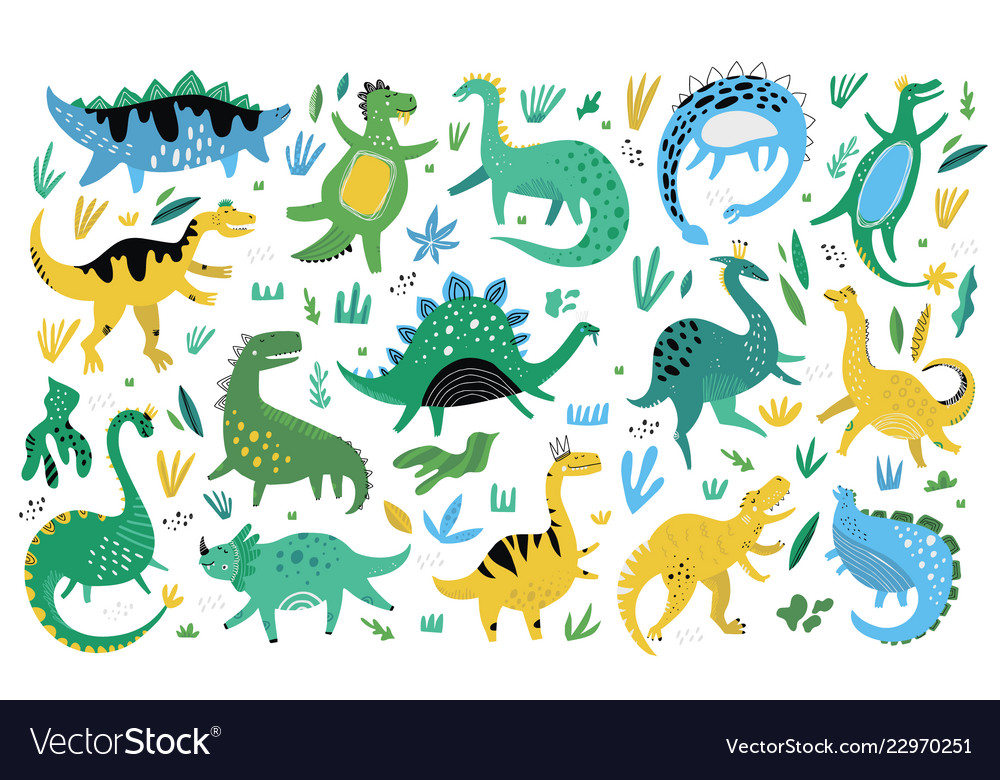Cute dinosaurs hand drawn color characters