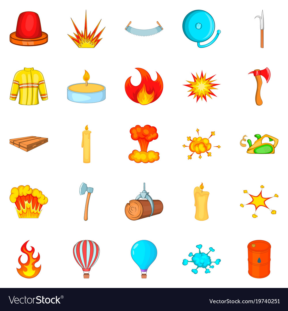 Firefighter icons set cartoon style
