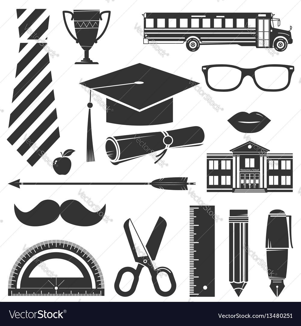 Graduation icons set isolated on white
