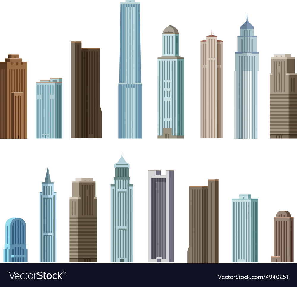 House building skyscraper Set of colored icons