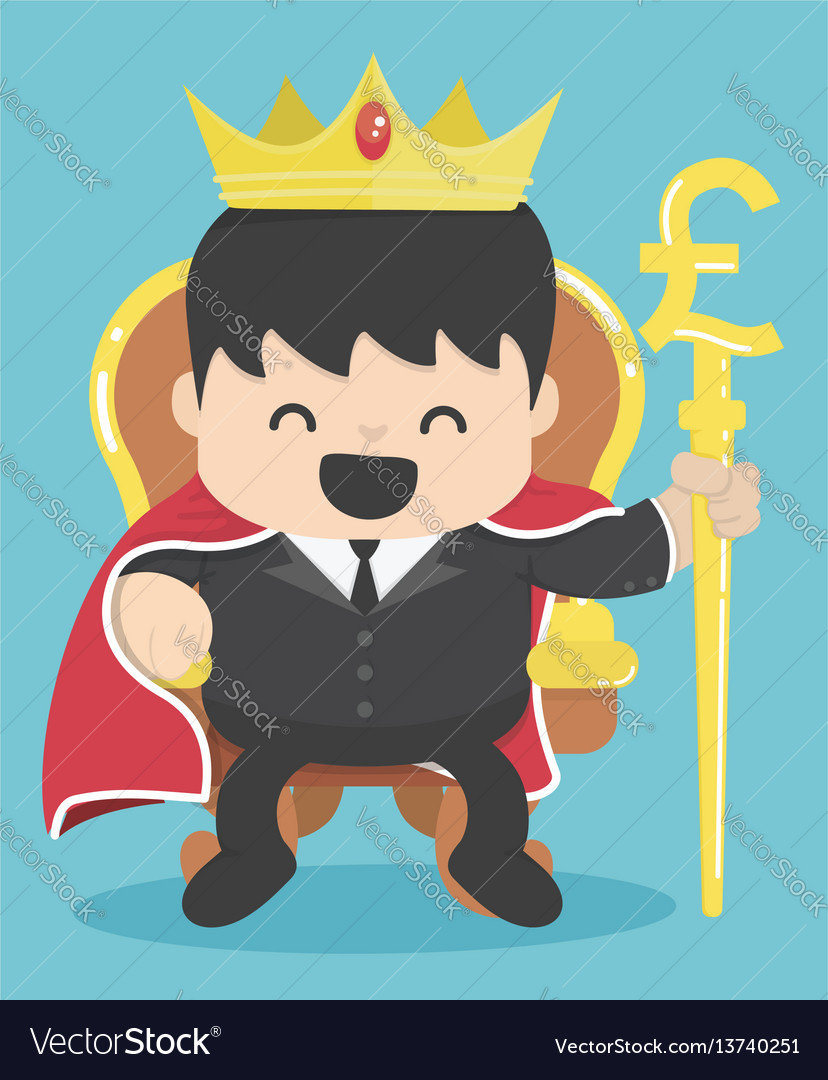 King of businessman with silver pound symbol vector image