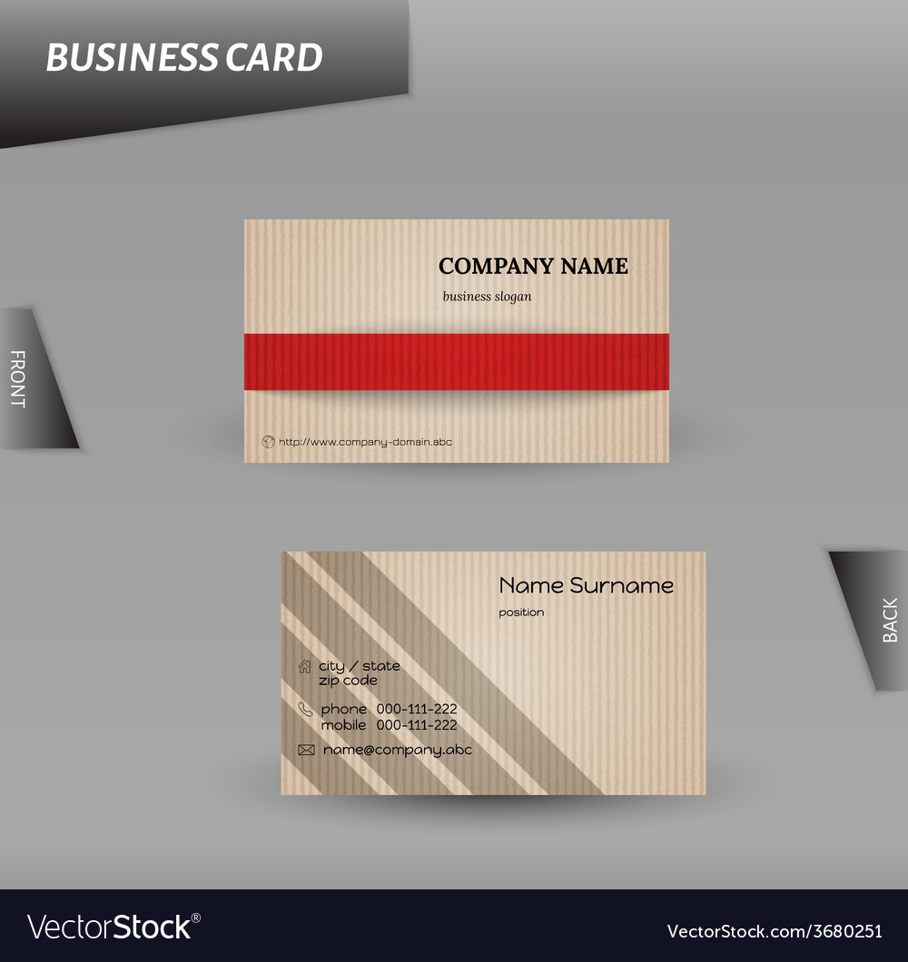 Modern design cardboard business card template Vector Image