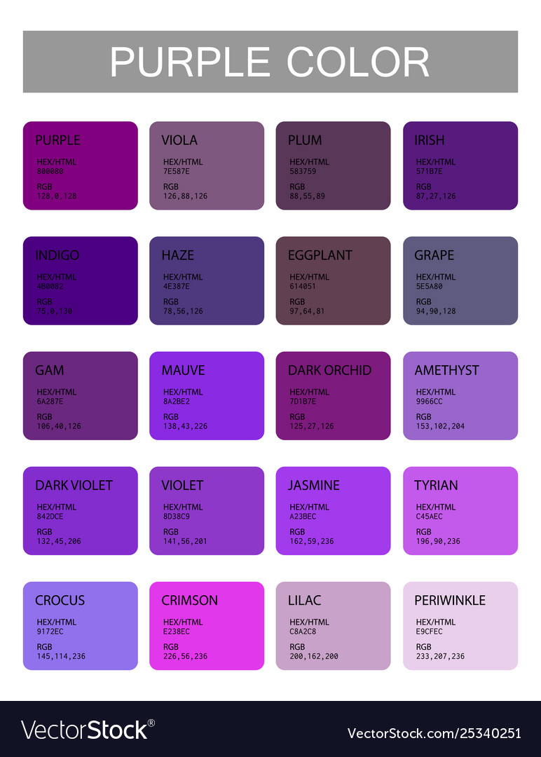 Purple color codes and names selection colors