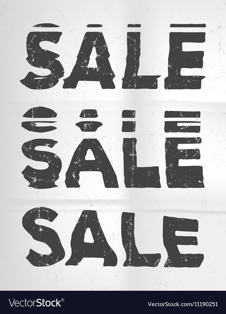 Sale glitch art typographic poster Glitchy words vector image