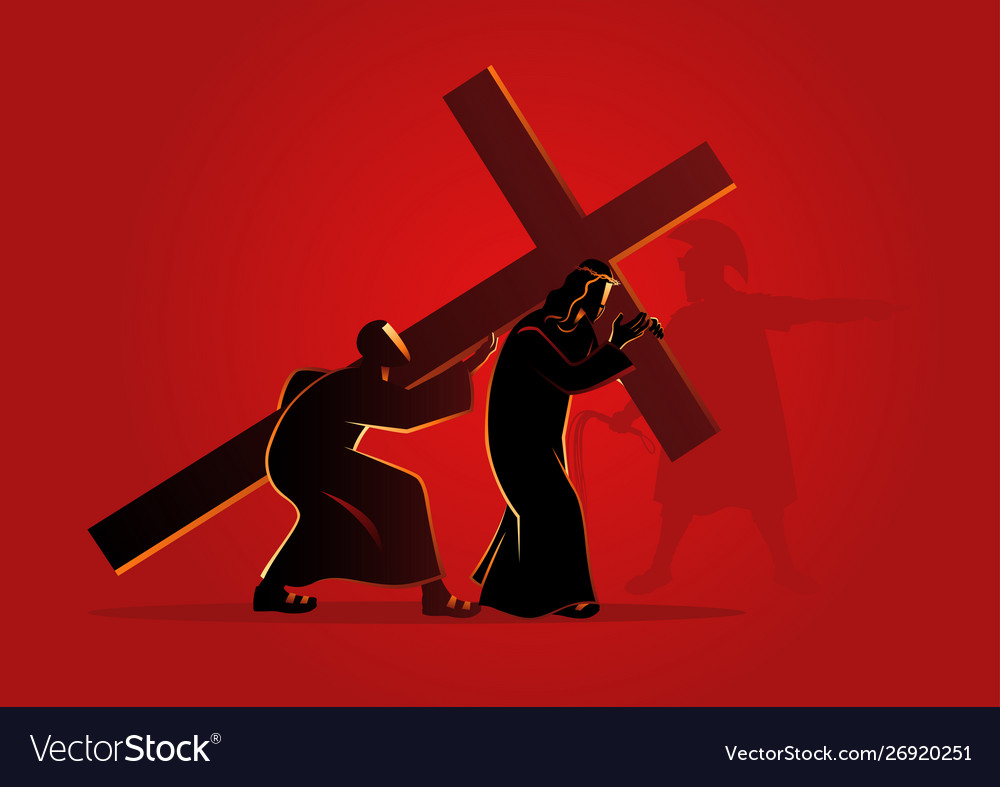 Simon cyrene helps jesus carry his cross