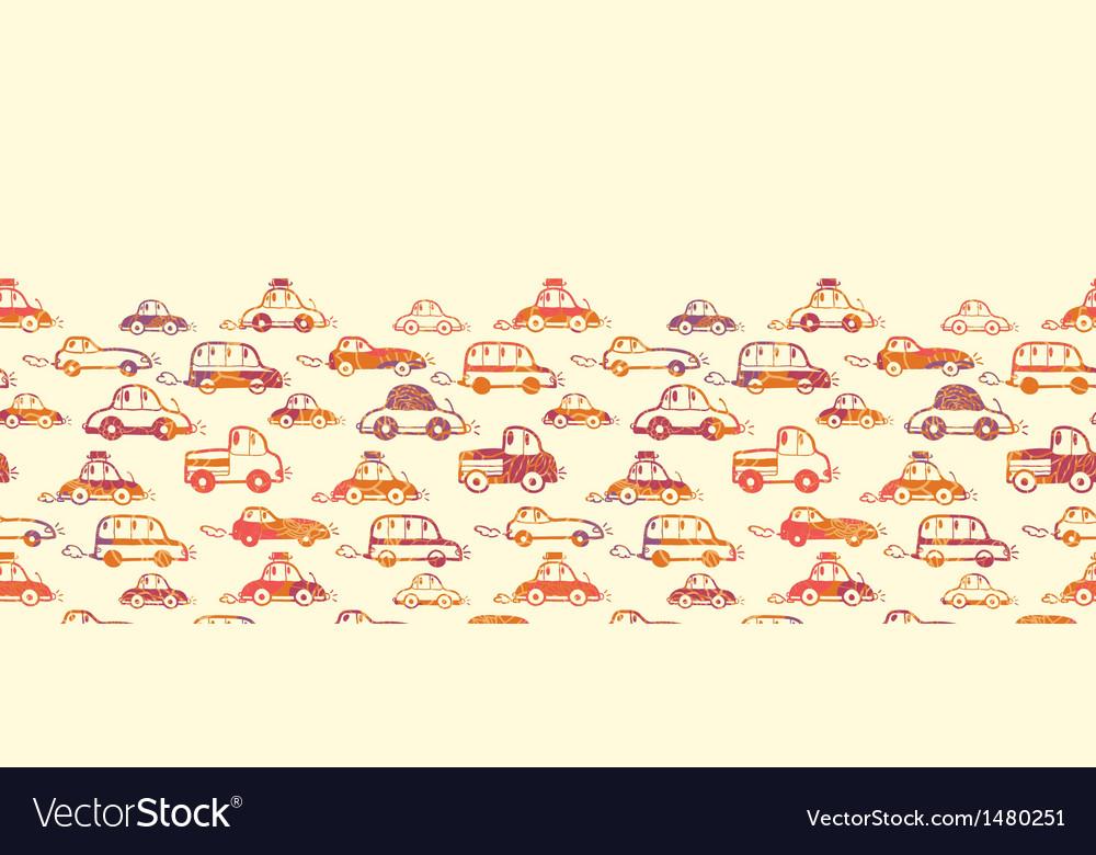 Vibrant cars horizontal seamless pattern