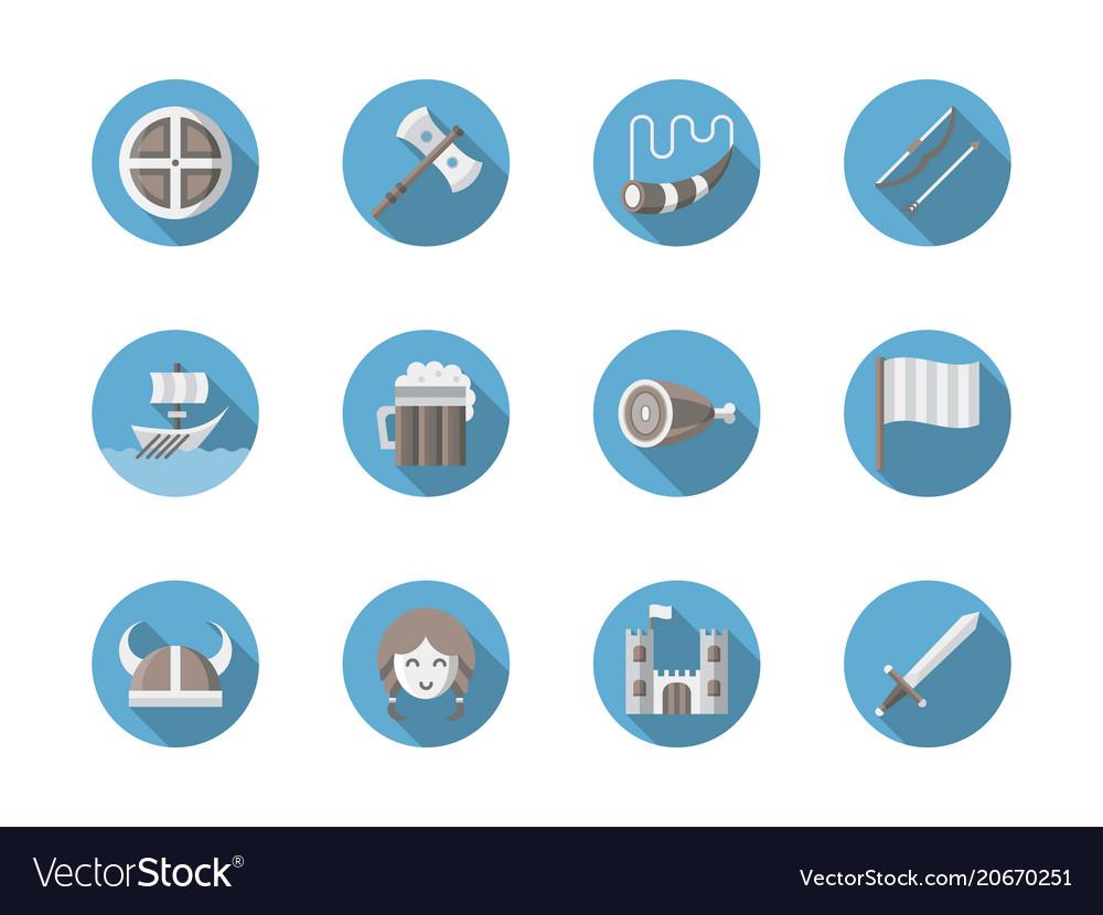 Viking set flat round icons