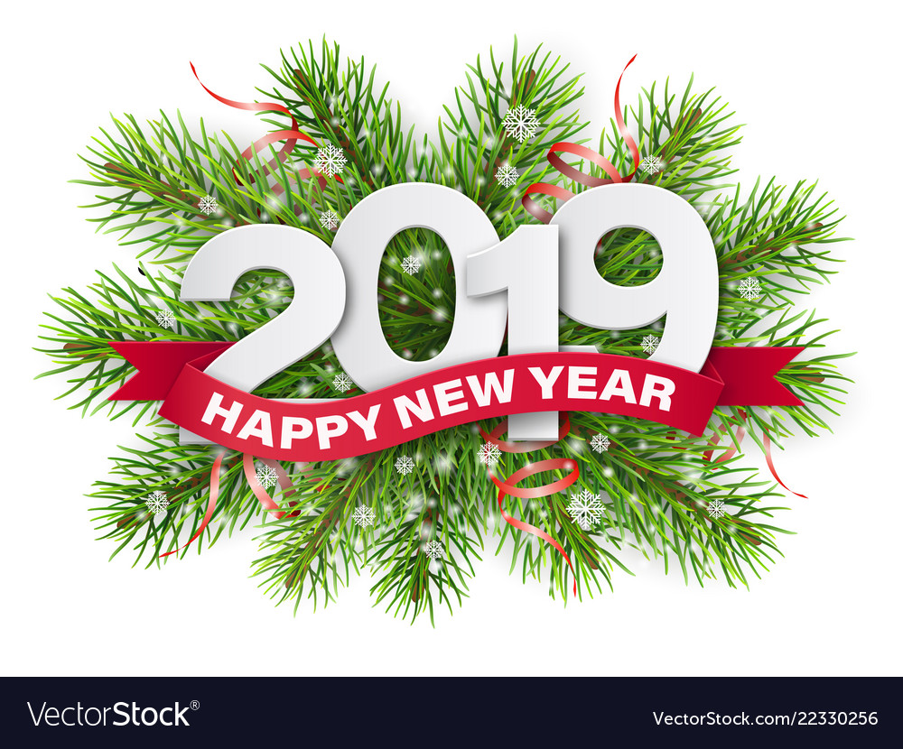 2019 numbers on christmas tree branches