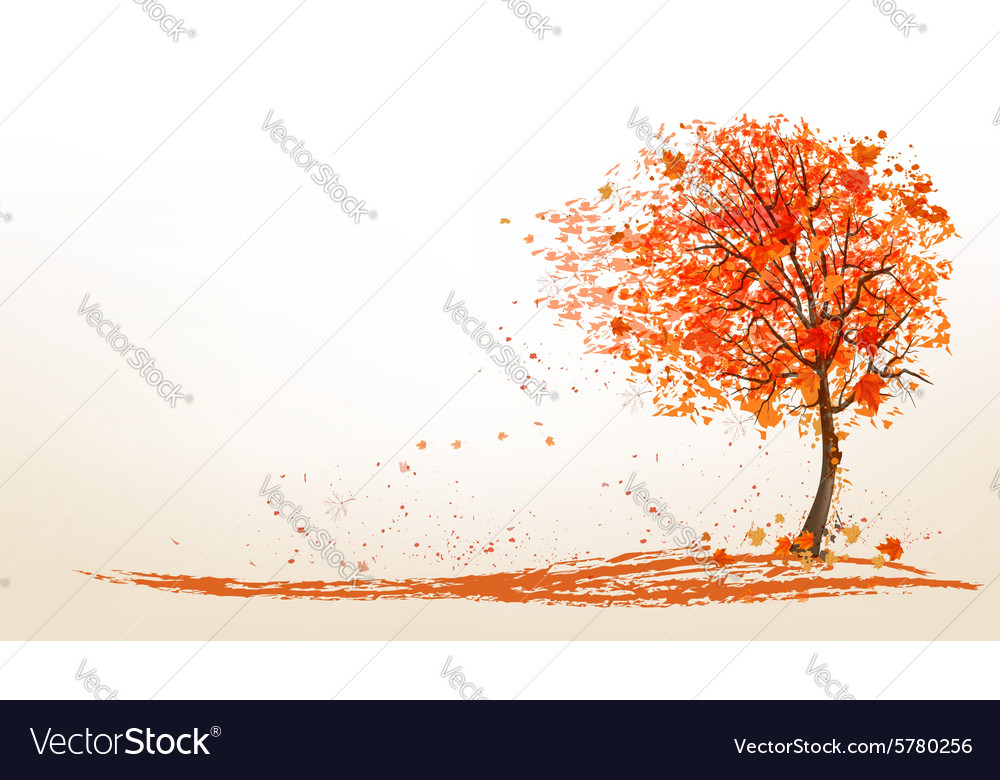 Autumn background with a tree and golden leaves