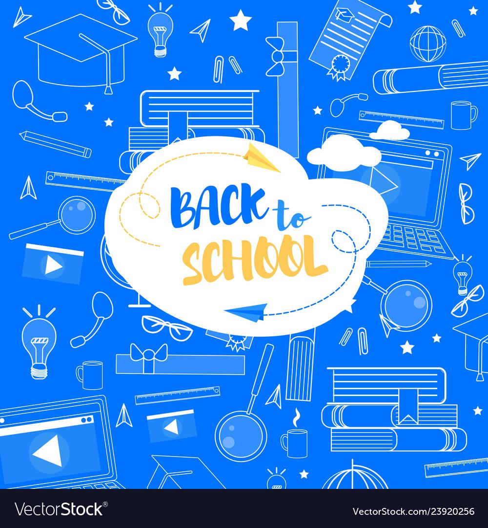 Back to school lettering school stuff background