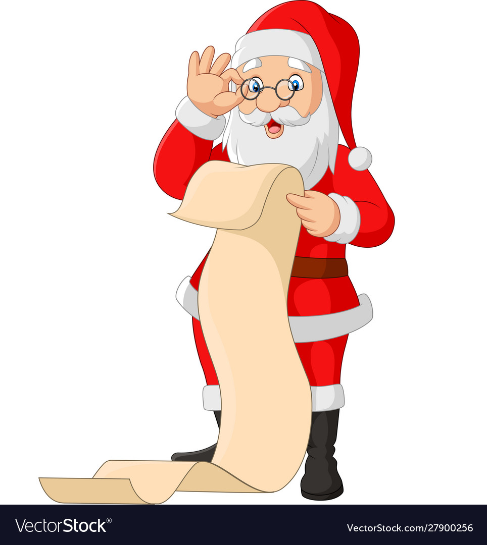 Cartoon santa claus reading a long list gifts