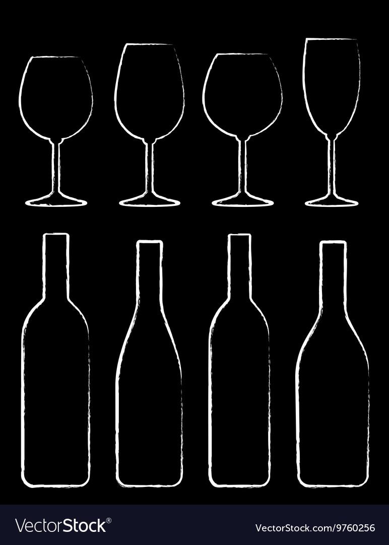 Chalk wine bottle and glass set
