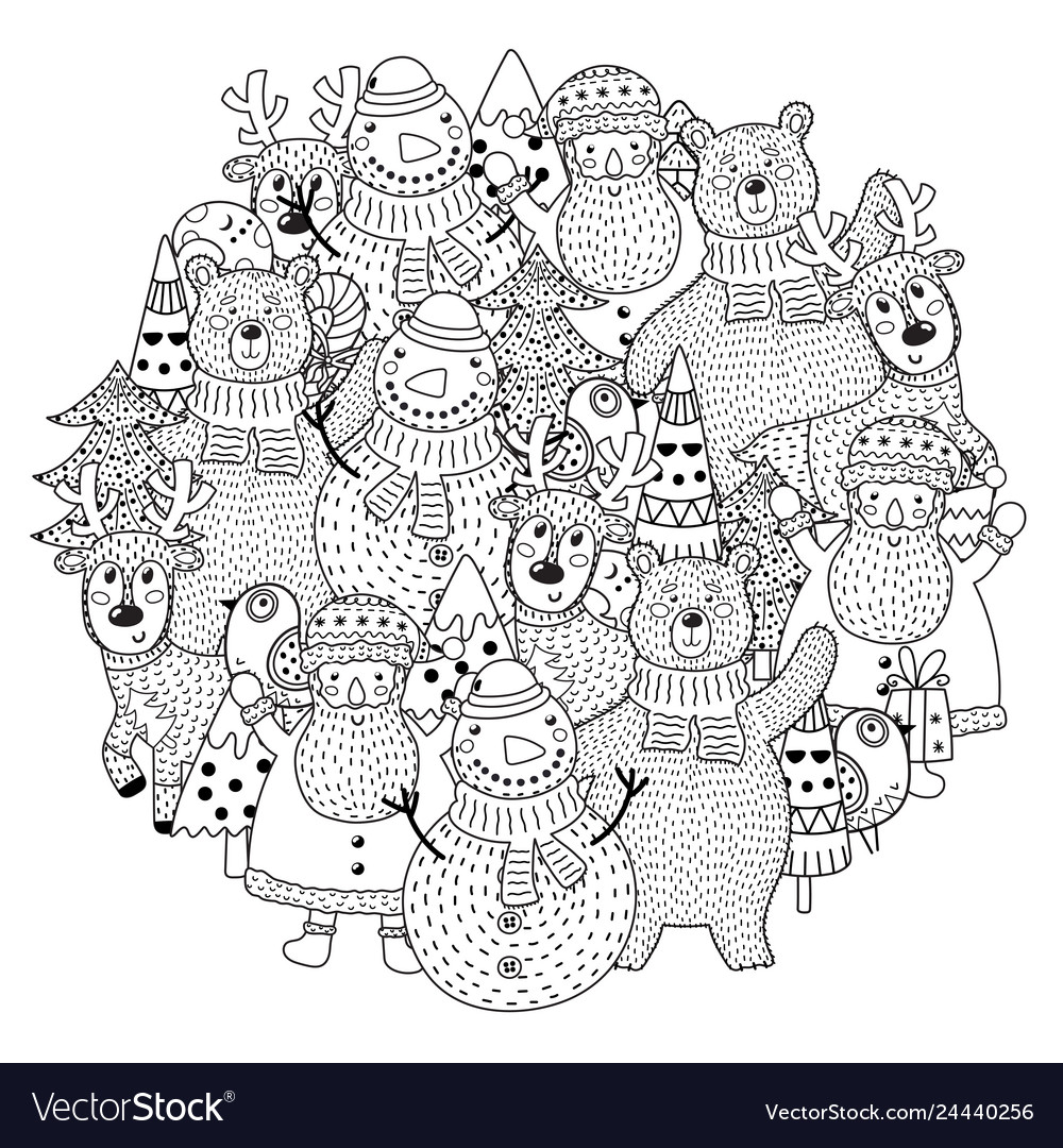 Christmas characters circle shape pattern for colo