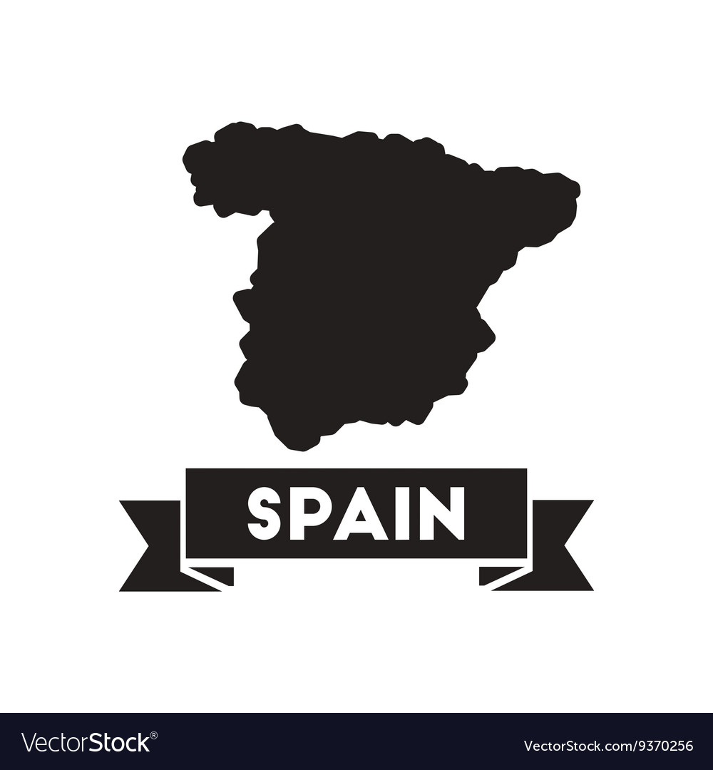 Flat icon in black and white map of Spain Vector Image
