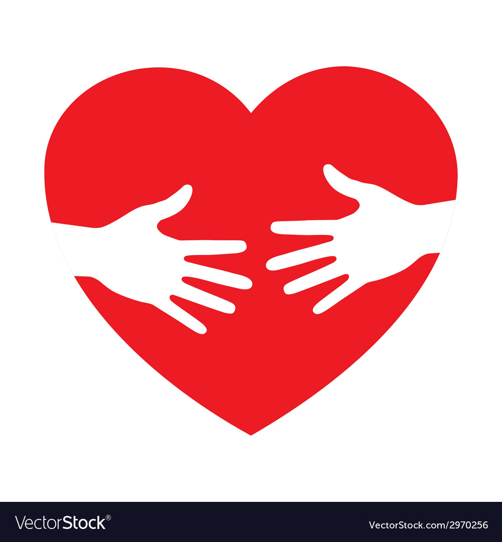 Heart icon with caring hands logo Royalty Free Vector Image