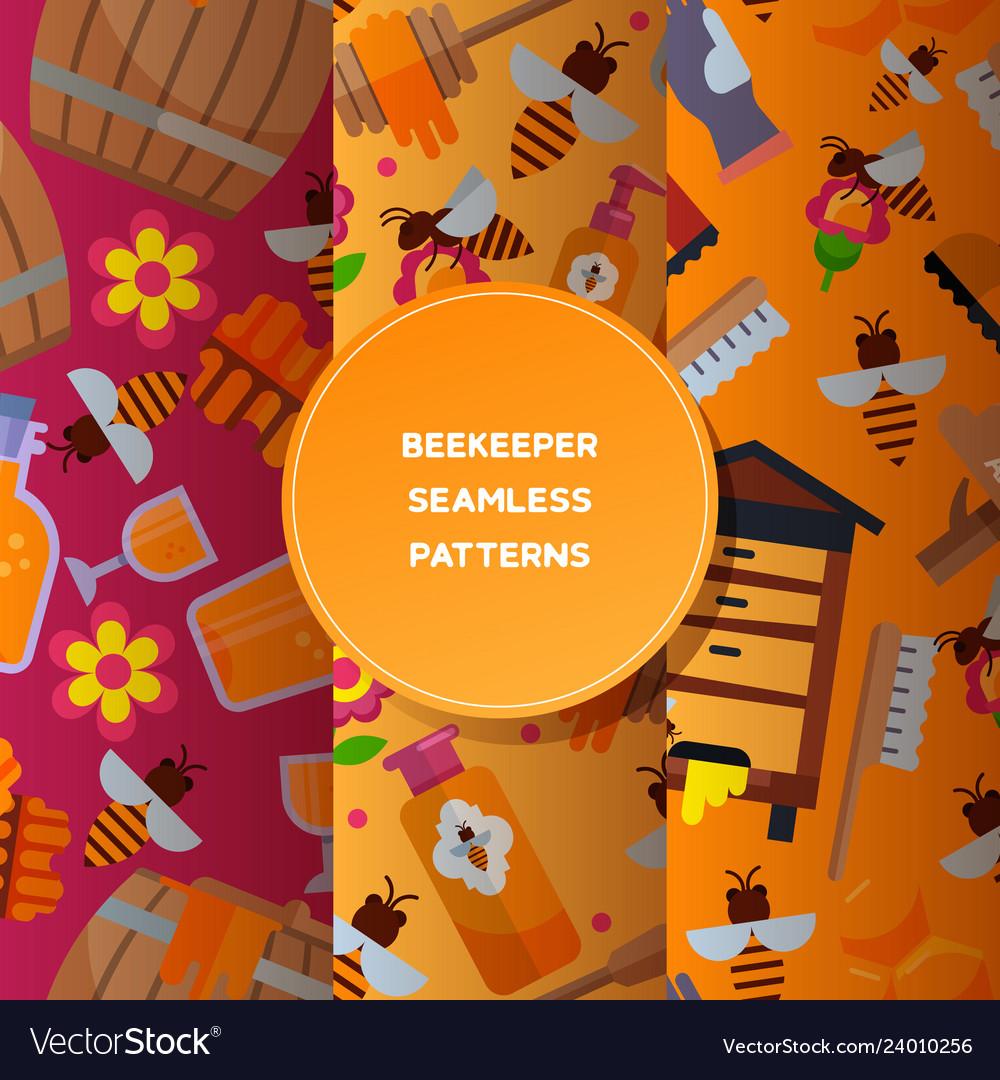 Honey sweet seamless pattern apiary farm