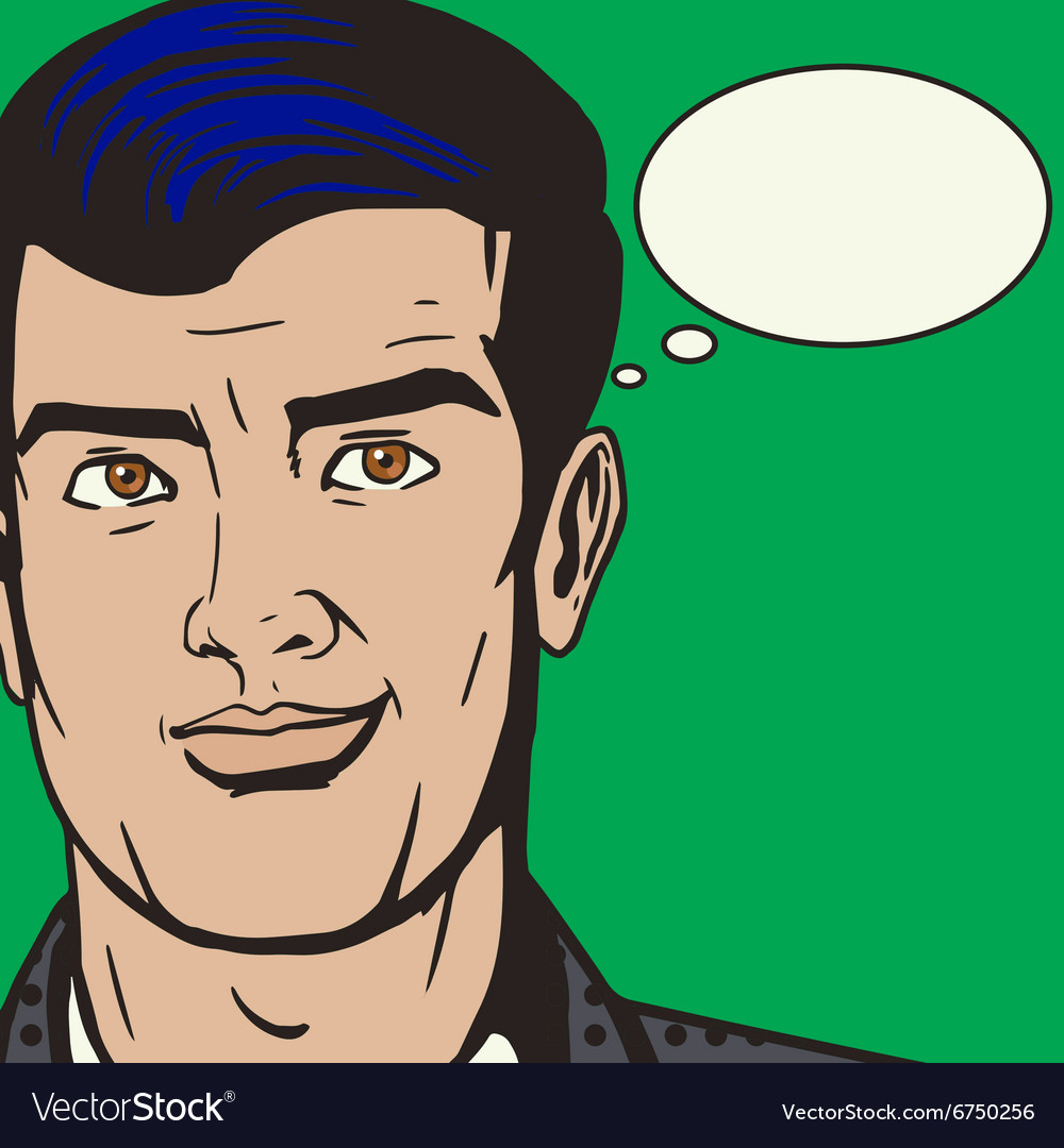 Man face with text bubble pop art style vector image