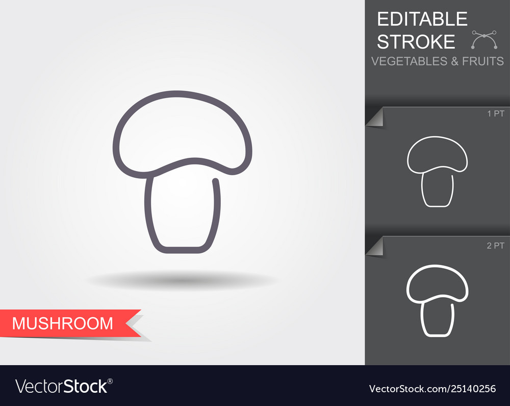 Mushroom line icon with editable stroke