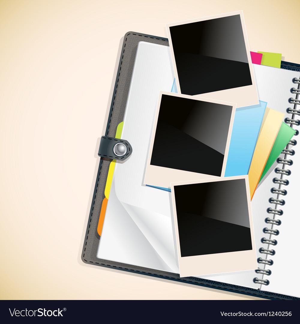 Photos on a diary