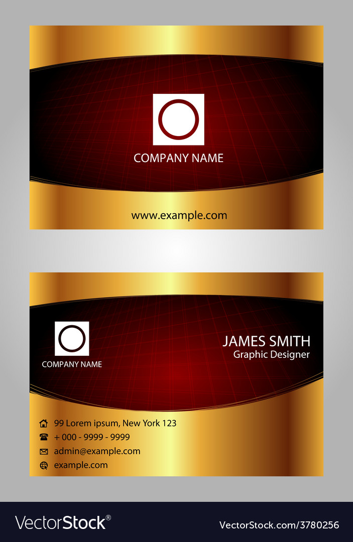 Red And Gold Modern Business Card Template Vector Image