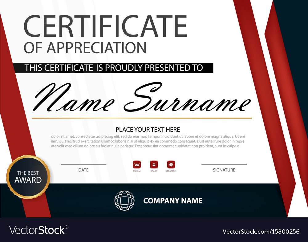 Red elegance horizontal certificate template