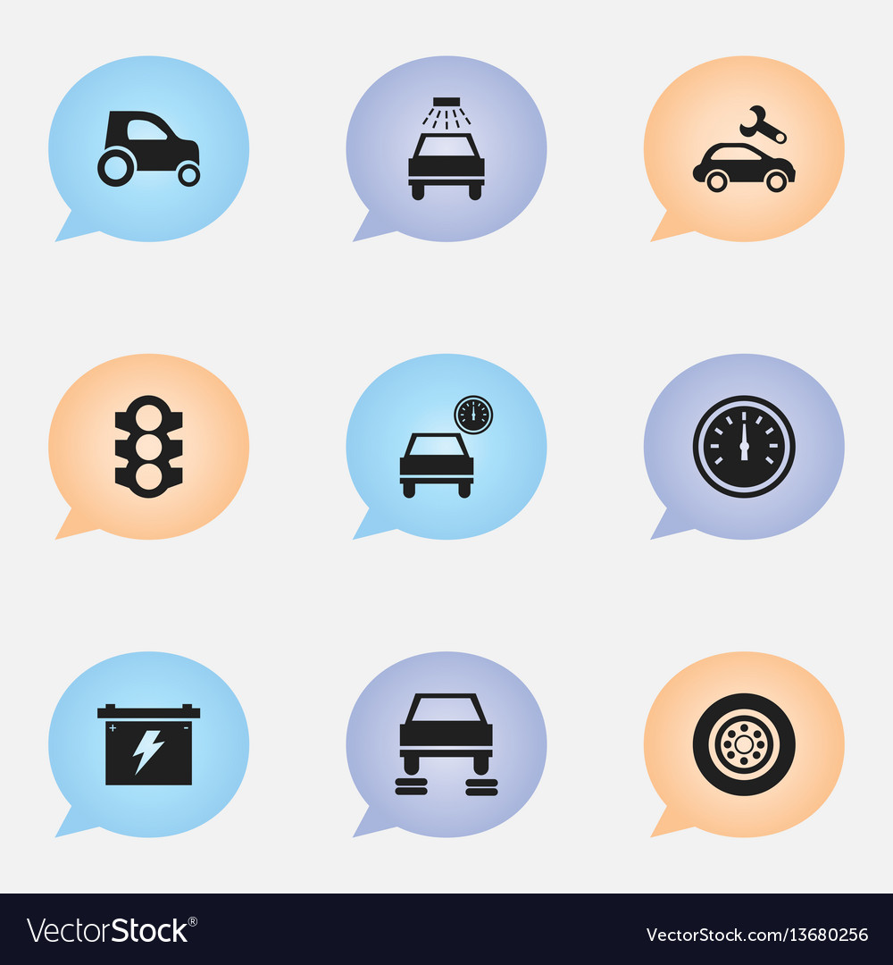 Set of 9 editable transport icons includes