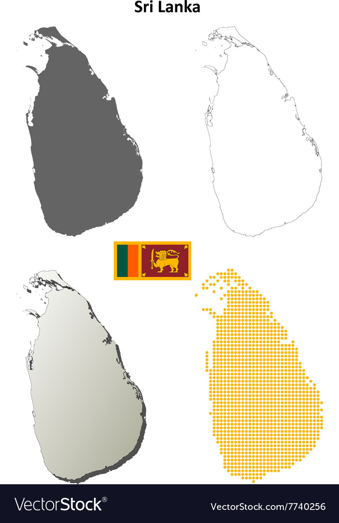 Sri Lanka blank outline map set Royalty Free Vector Image