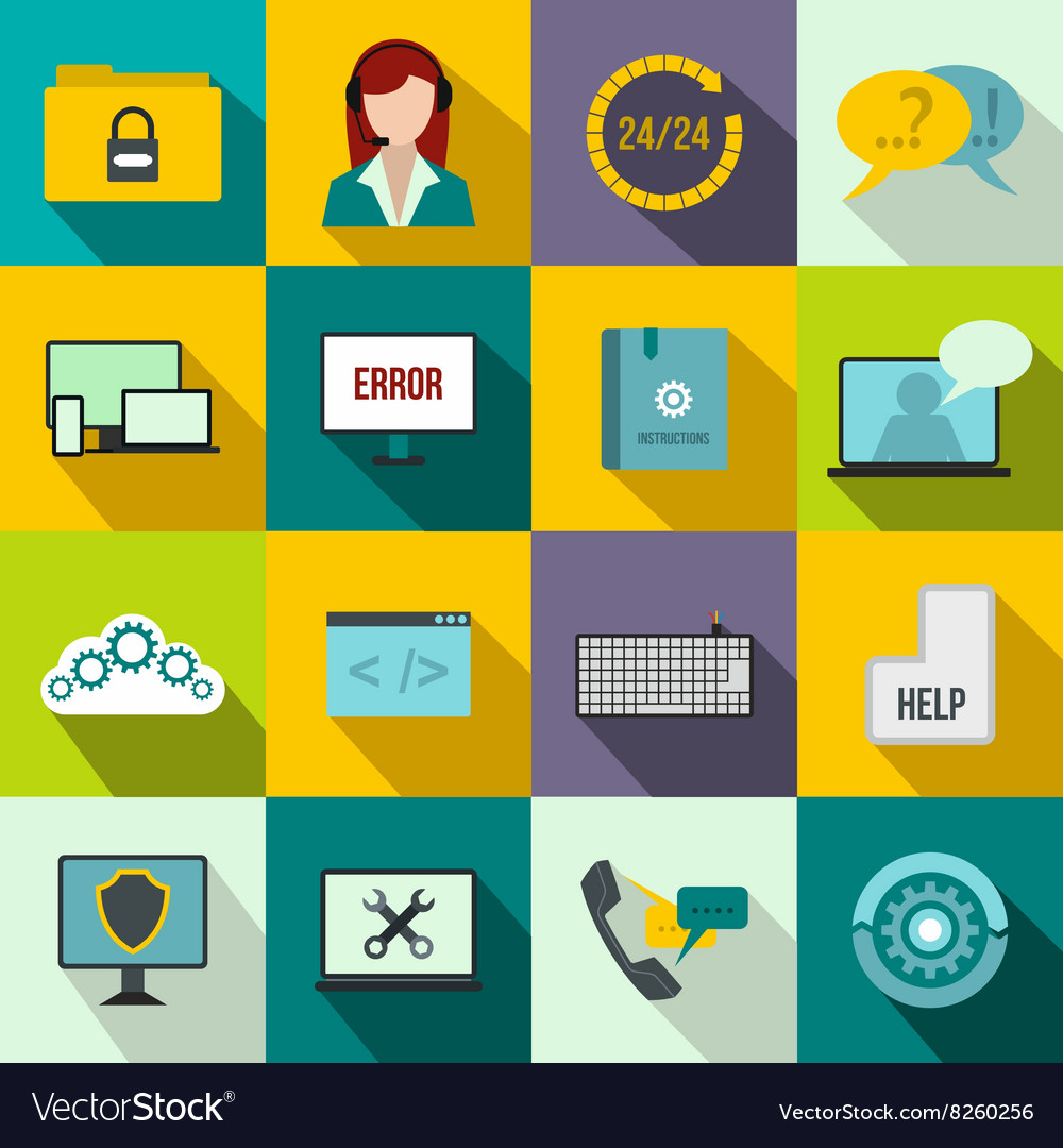 Support call center icons set flat style