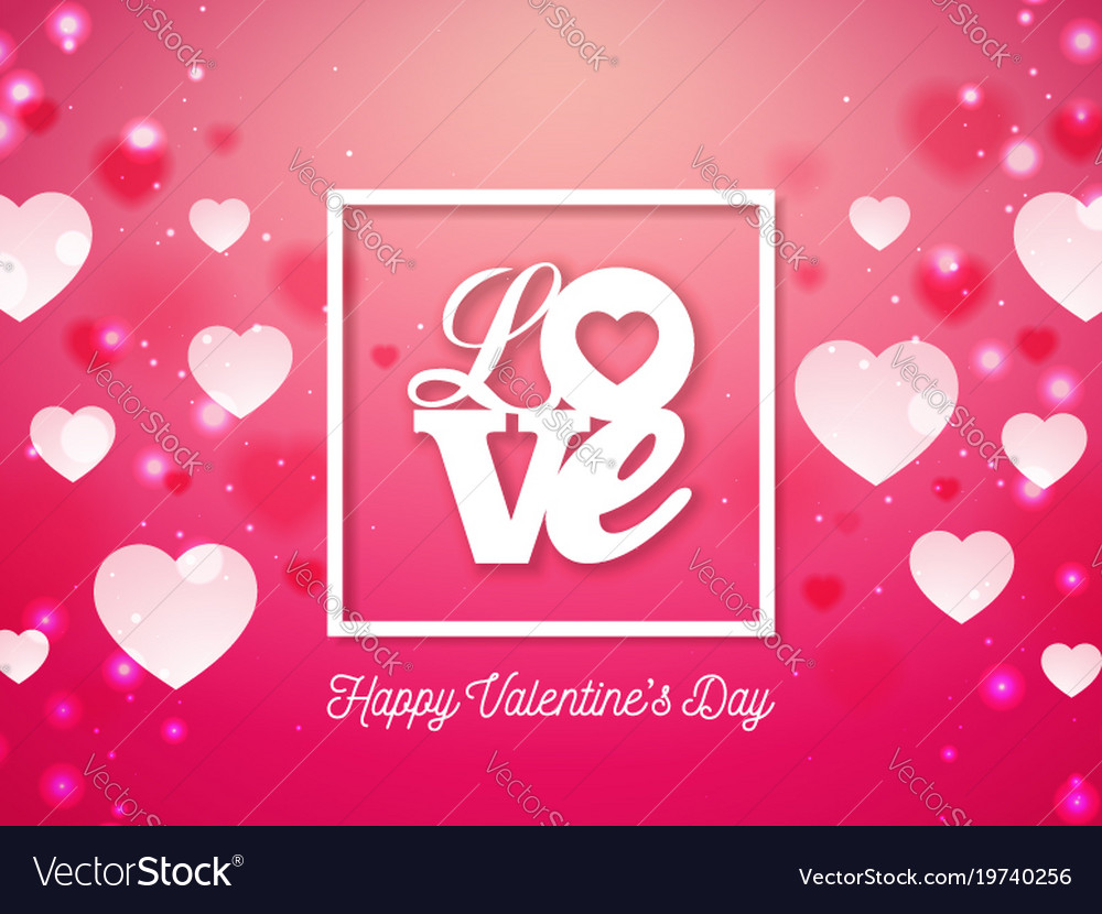 Valentines day design with heart and love