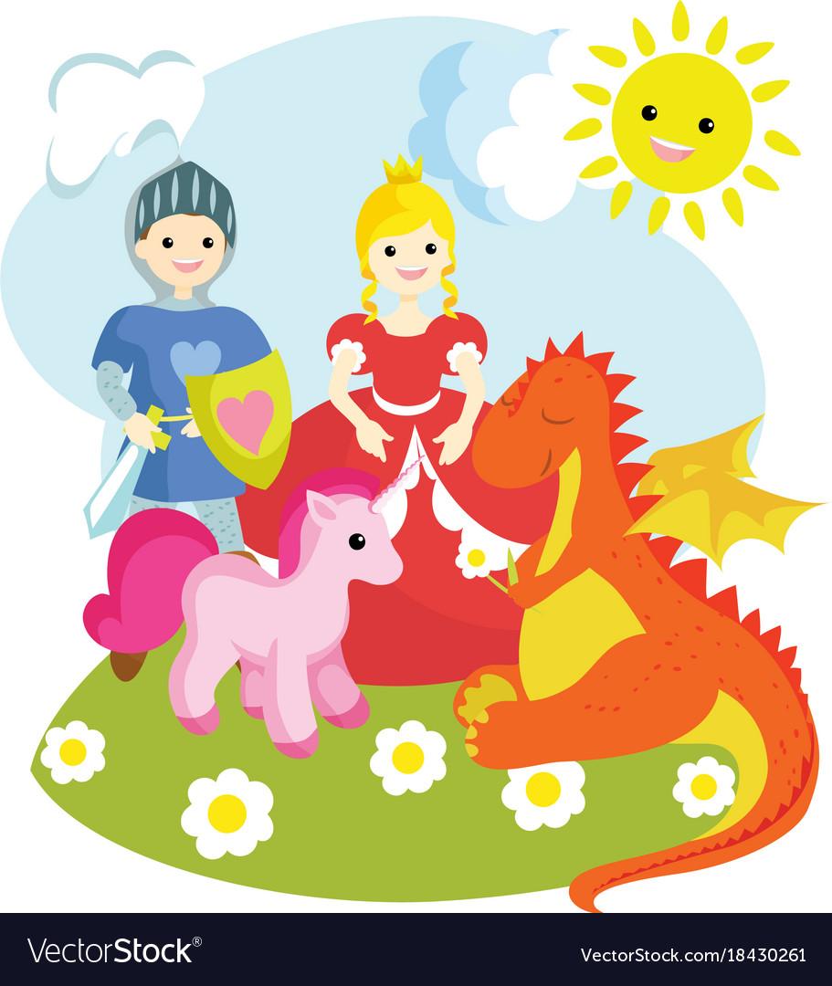 A knight a princess a unicorn a dragon