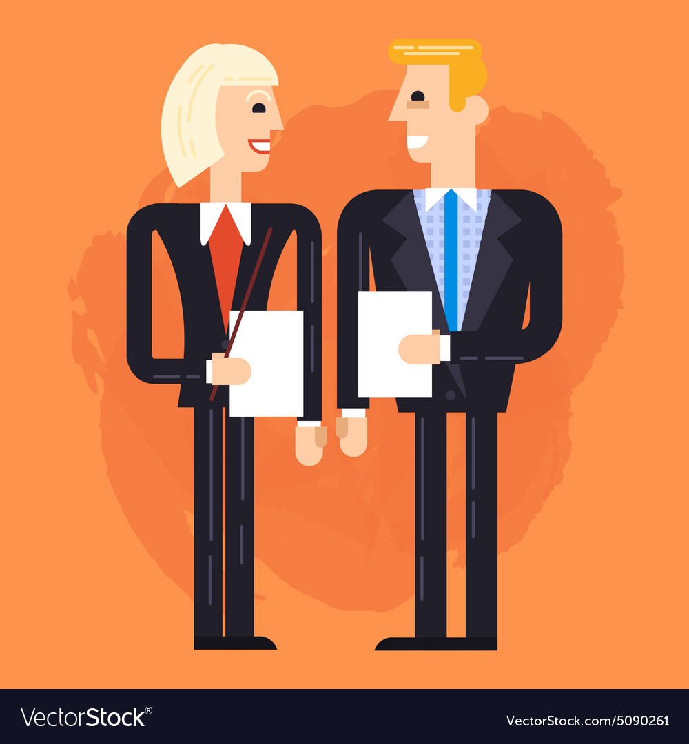 Business man and woman speaking