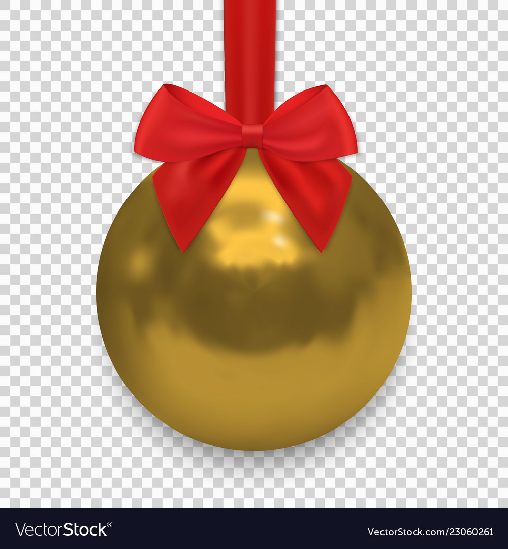 Christmas ball with ribbon and a bow isolated on