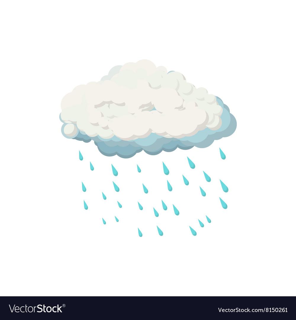 Cloud with rain drops icon cartoon style