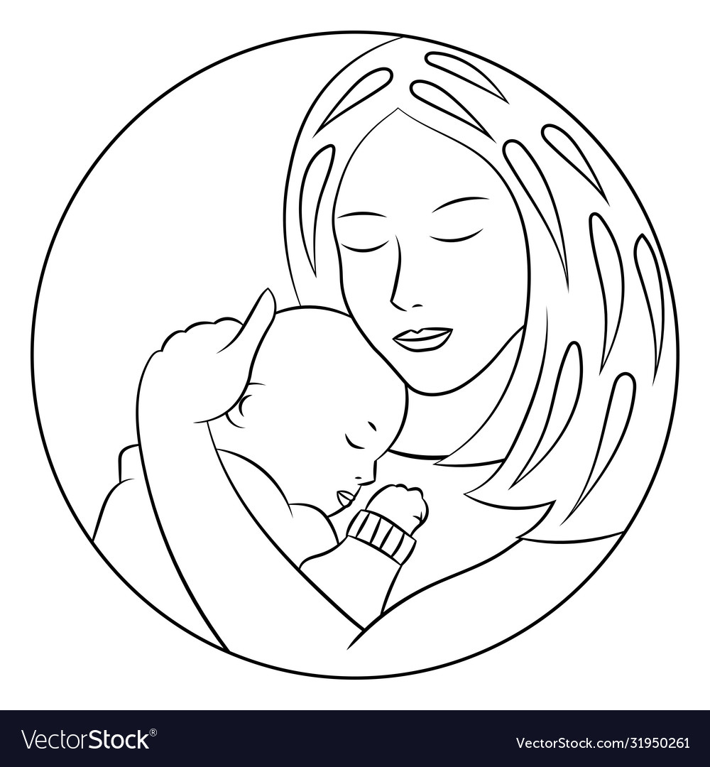 Coloring Page With Mom And Baby Royalty Free Vector Image