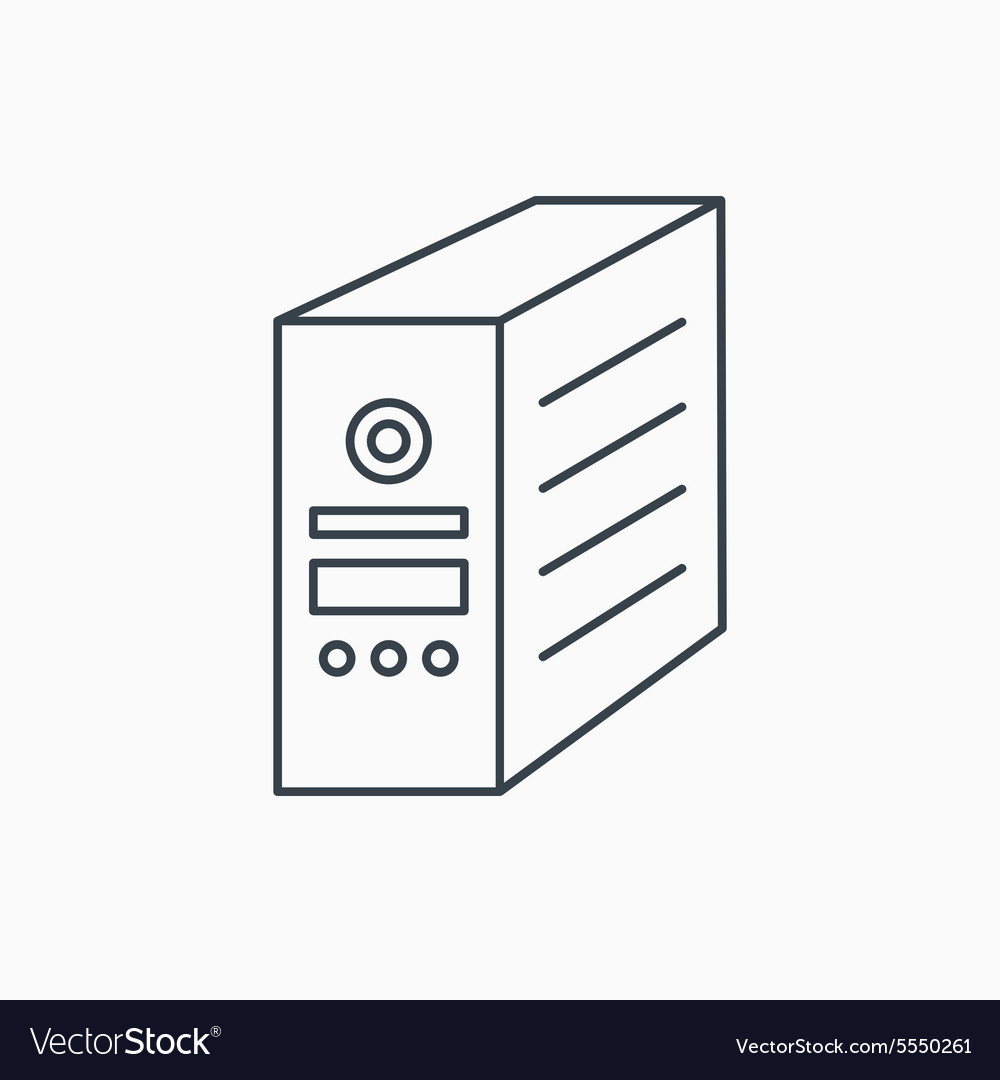 Computer server icon PC case or tower sign