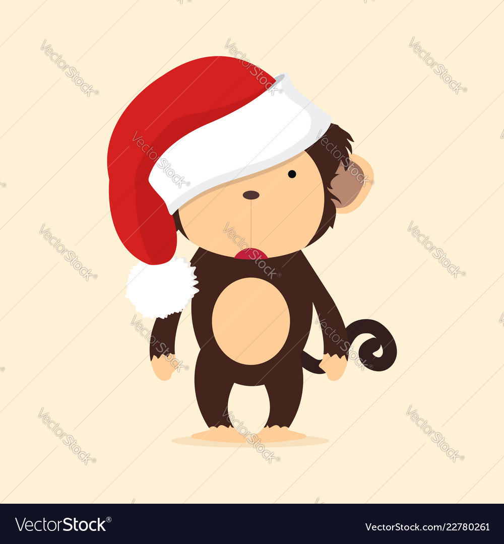 Cute monkey with hat christmas