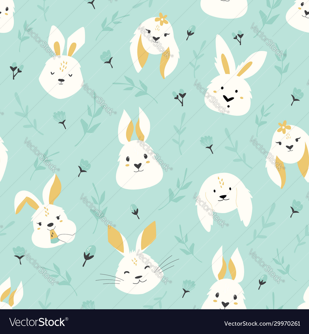 Easter seamless pattern with cute smiling rabbits