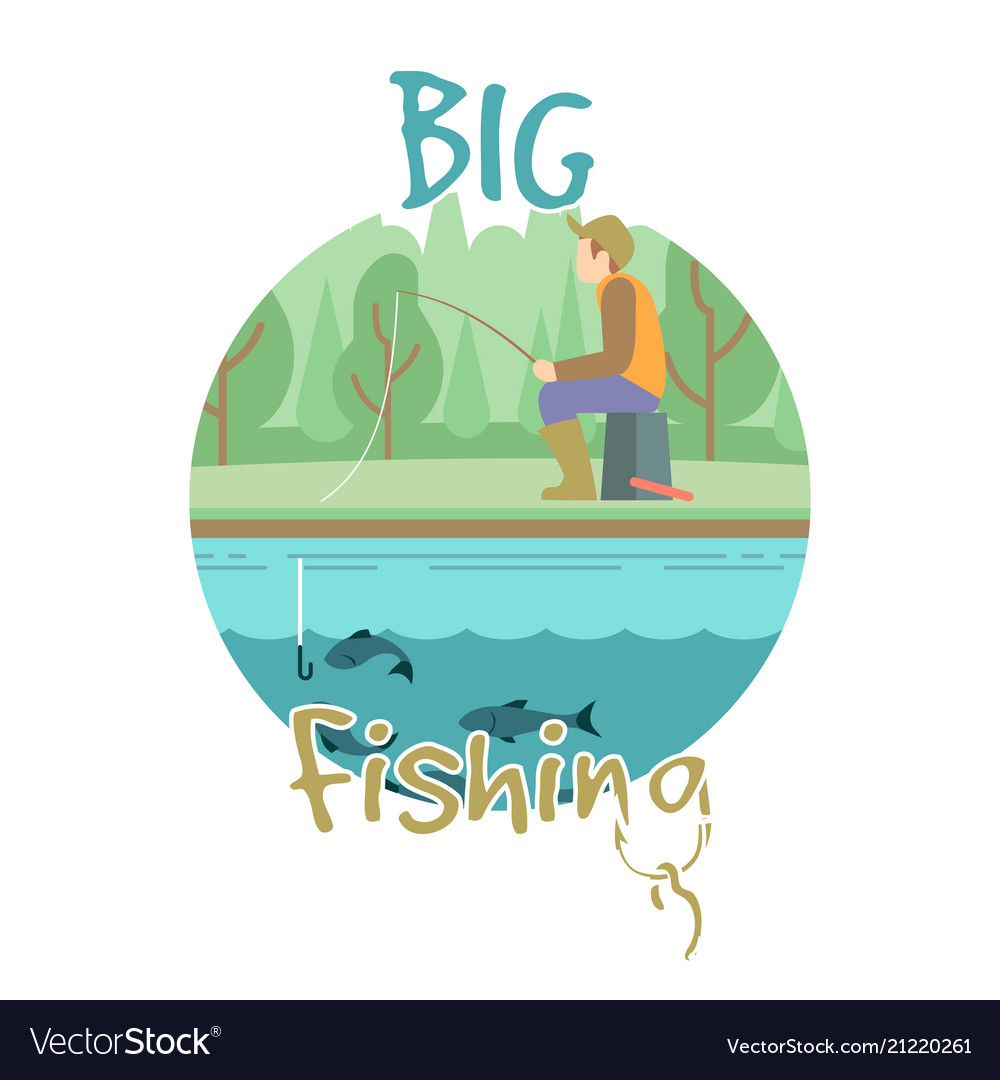 Fishing concept with fisher man and