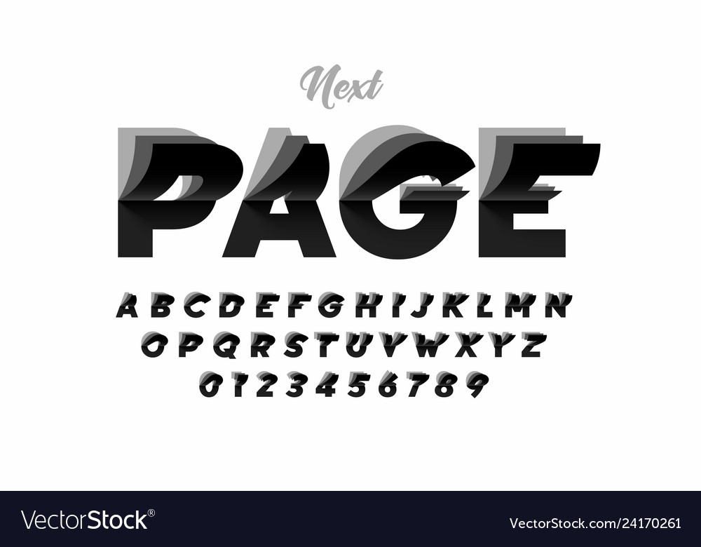 Flip page style modern font alphabet letters and