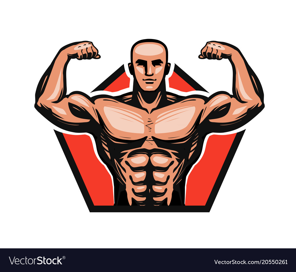 Gym bodybuilding fitness logo or label muscle
