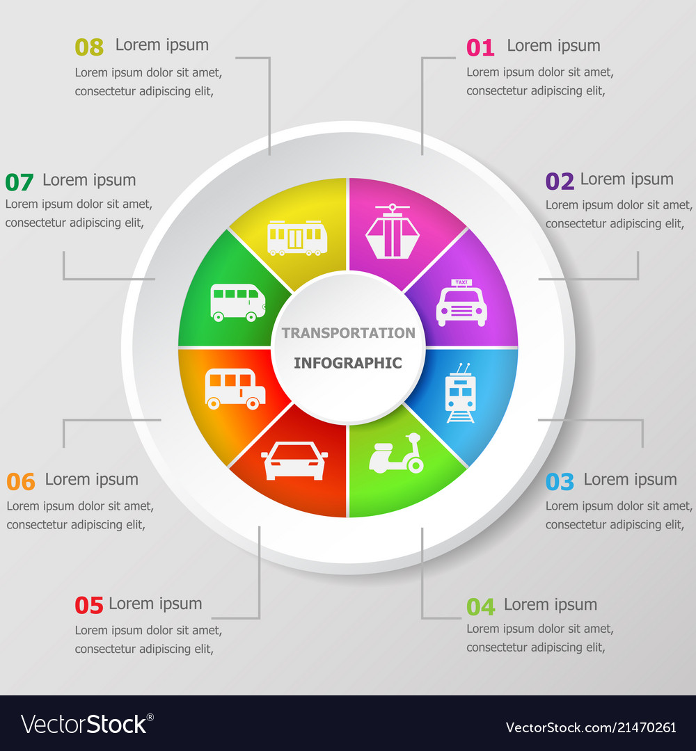 Infographic design template with transportation