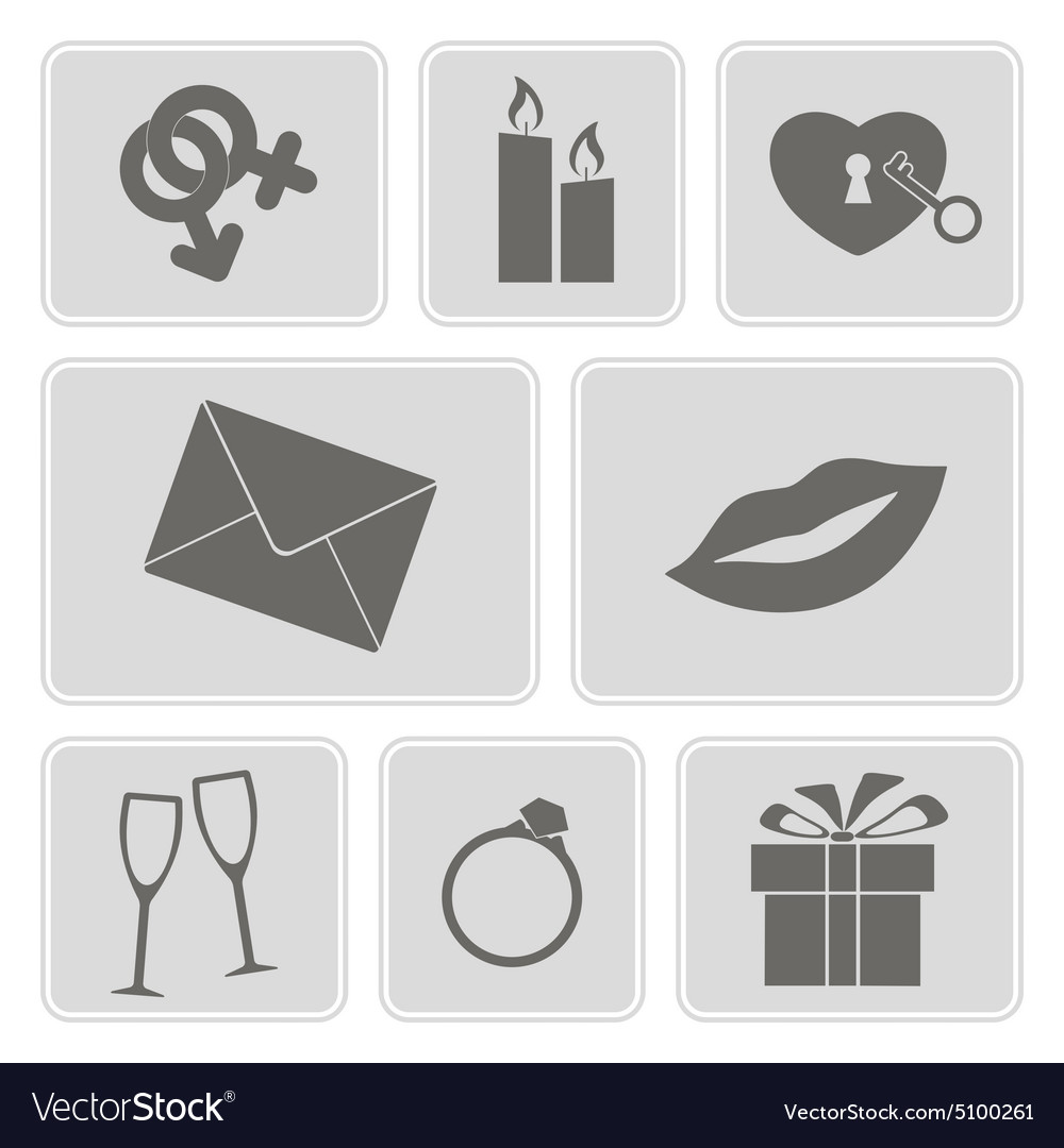 Monochrome Icons On The Wedding Theme Royalty Free Vector