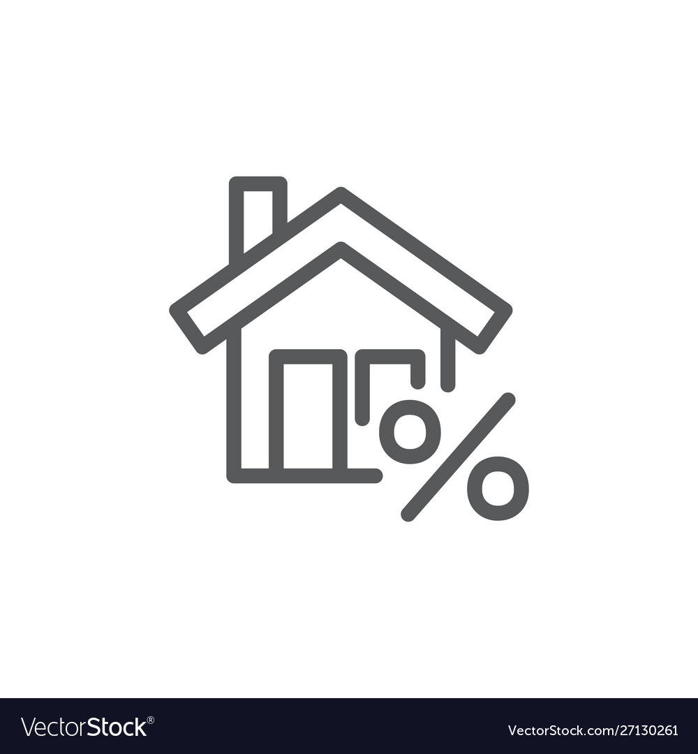 Mortgage line icon on white background