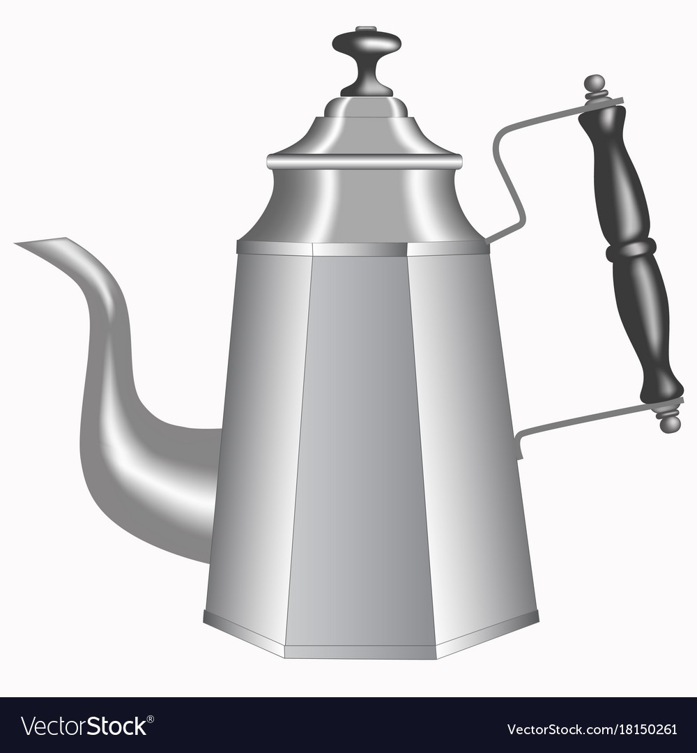 Old metallic teapot isolated on white background