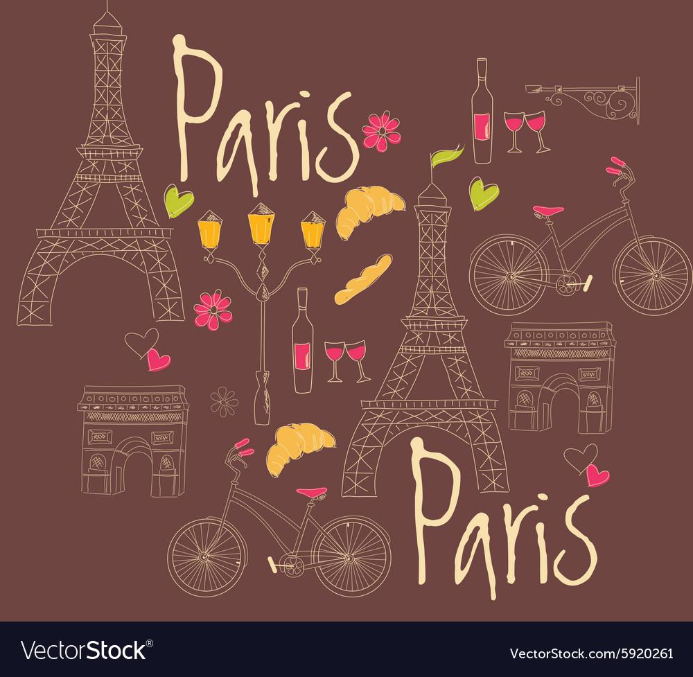 Paris symbols postcard hand drawn