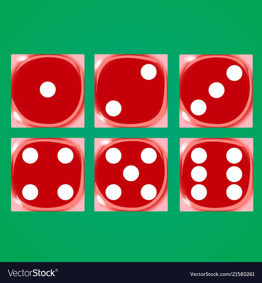 Red dices on a green background