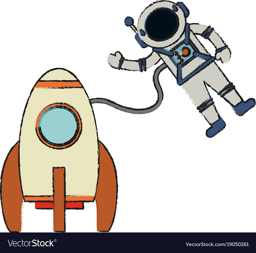 spaceship with astronaut cartoon royalty free vector image rh vectorstock com spaceship vector worksheet spaceship vector worksheet